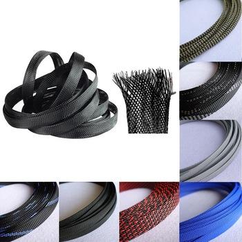 Rozbudowy oplot rękaw drut rękaw kablowy termokurczliwy DIY rozbudowy pleciony rękaw pleciony kabel rękaw kablowy termokurczliwy tanie i dobre opinie Urijk M127697 Spiral owijania Black black blue black red