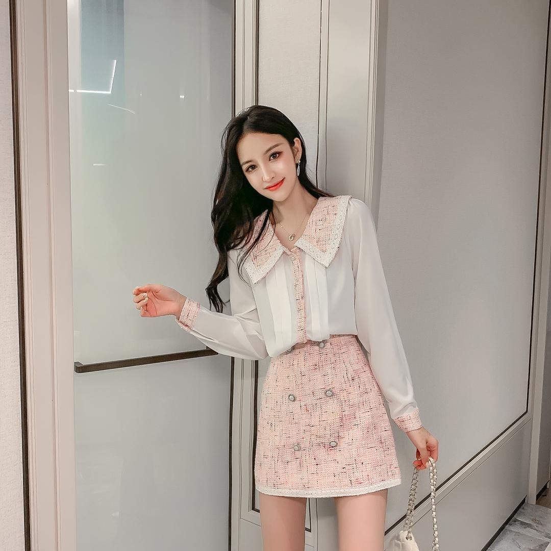 2019 Autumn Elegant Women 2 Piece Set Tweed Patchwork Chiffon See Through Shirt Top + Double-Breasted Woolen Mini Skirt Suit