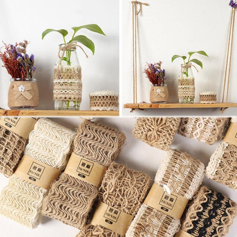 2 M/Roll fête naturelle artisanat ruban de mariage cadeau garantie ruban de chanvre Jute toile de Jute bricolage Festival fournitures décoration de Festival