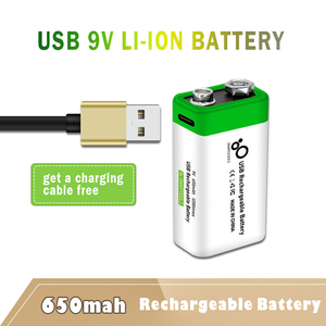 1PC New 9V 6F22 650mAh USB lithium Rechargeable battery 9 V li-ion batteries for Multimeter Microphone Toys Remote Control KTV