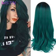 MSTN 24'' Cosplay Wig Long Ombre Black Green Lolita No Bangs High Temperature Fiber Synthetic Hair Extension Wigs For Women