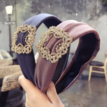 Hair Accessories Fashion Rhinestone Women Hairband Solid Wide Side Ladies Hoop Korea Premium Fabric Headwear