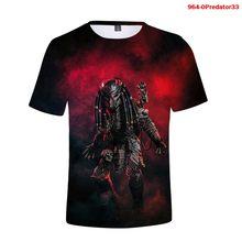 Nova camisa de t filmes de terror predador 3d men tshirts verão casaul manga curta feminina legal streetwear predator camisetas de grandes dimensões