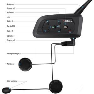 Image 5 - V4 interkom interkom Intercomunicadores De kasko Moto kask bluetooth kulaklık Intercomunicador Moto radyo 4 biniciler 1200m interkom Moto