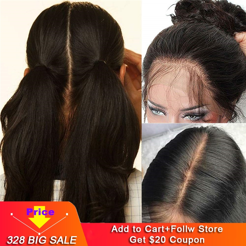 100% Brazilian Human Hair Full Lace Wigs Glueless Long Straight Free Part Lace Wig With Baby Hair Pre Plucked For Black Women
