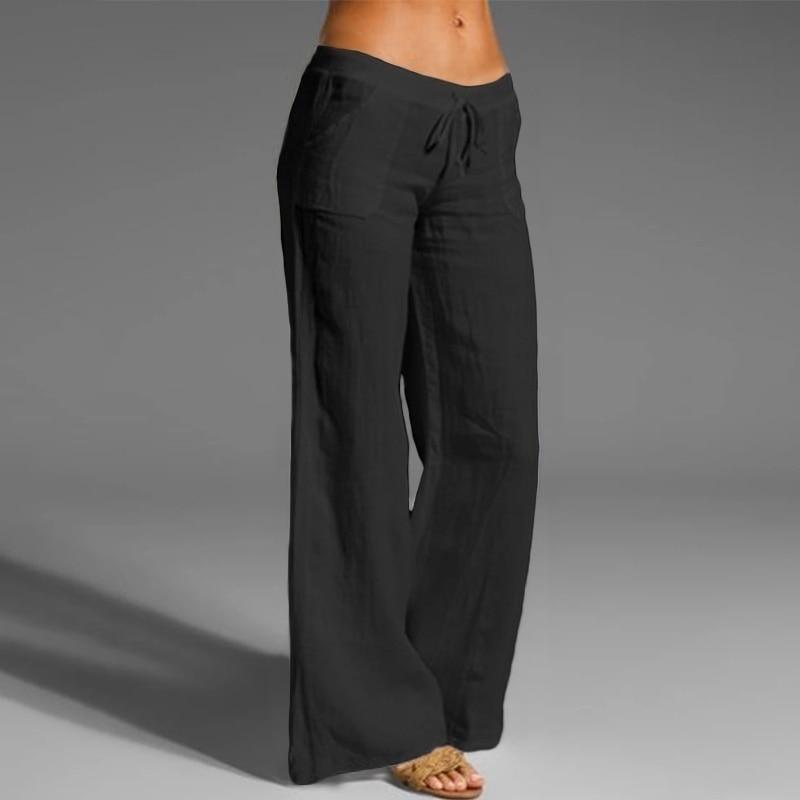Loose Yoga Pants for Women Plus Size Trending Casual Cotton Linen Flare Trousers Female