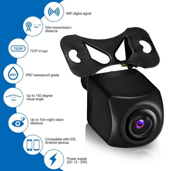 Cámara de visión trasera inalámbrica para coche Hd 720P Wifi cámara de marcha atrás Cámara Dash Cam Hd Mini tacógrafo de cuerpo para Iphone y Android