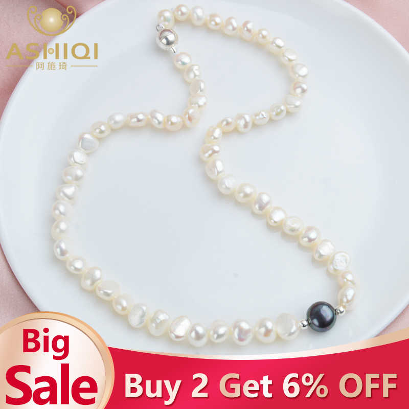 ASHIQI Real White Freshwater Pearl Necklace for Women with Pure 925 Sterling Silver Beads Handmade Jewelry Gift 2019