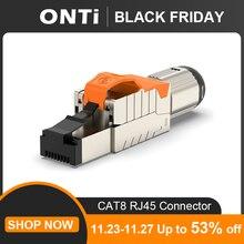 ONTi Cat6A Cat7 Cat8 przemysłowy Ethernet złącze RJ45 ekranowane pole wtyczka narzędzie bezpłatne łatwe metalowe odlewane zakończenie Conector