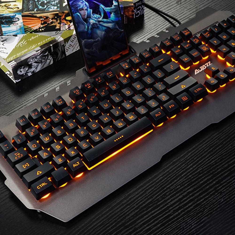 Gaming Keyboard Wired USB Gamer Keyboard 104 Keys Metal Panel Waterproof Backlit Keyboard With Game Mechanical Feel For PC