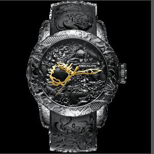 Image 2 - MEGALITH Fashion Gold Dragon Sculpture Watch Men Quartz Watch Waterproof Big Dial Sport Watches Men Watch Top Luxury Brand Clock
