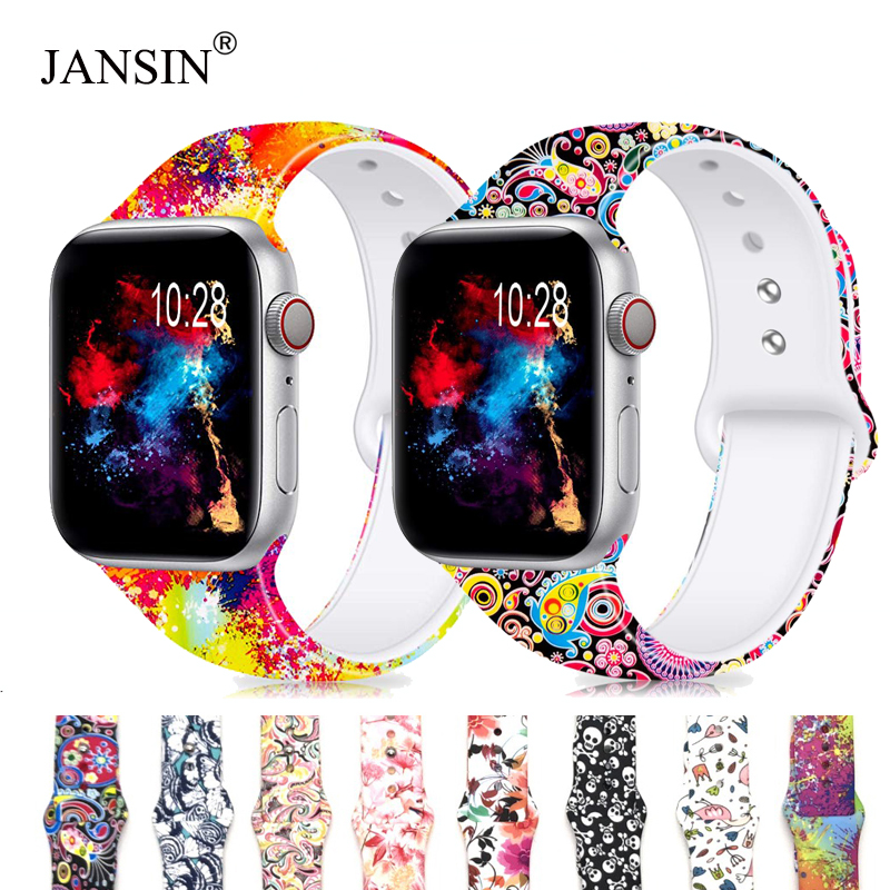 JANSIN Printed Silicone Band For Apple Watch 38mm 42mm 40mm 44mm,Soft Silicone Sport Strap Bands IWatch Series 5 4 3 2 Bracelet