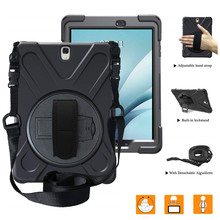 360 hand Rotating Case PC+Silicon hard Cover for Samsung GALAXY Tab A 9.7 T550 T551 T555 P550 P555 stand shell+Black Neck strap все цены
