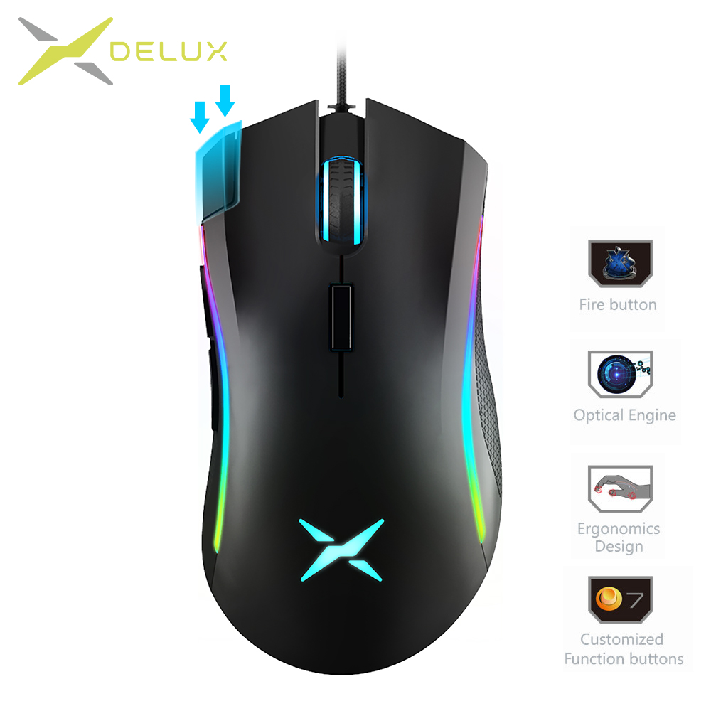 Delux Mice Gaming-Mouse Programmable-Buttons Wired Computer-Fps-Gamer 12000 Dpi Backlight