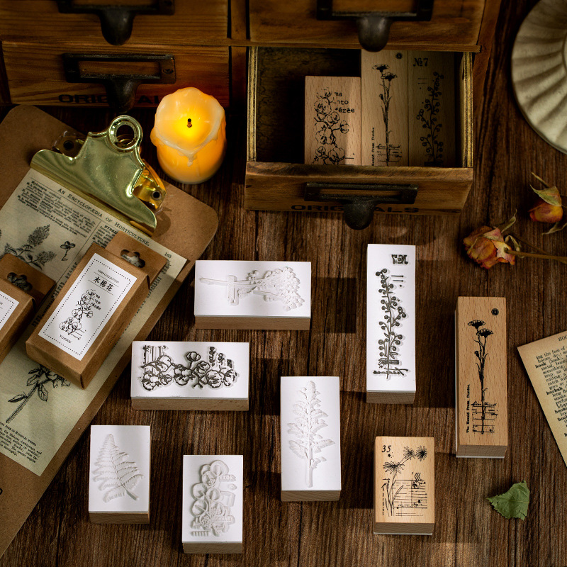 Wood Mounted Rubber Stamps Plant And Flower Decorative Wooden Rubber Stamp Set For Diy Craft Diary And Craft Scrapbooking