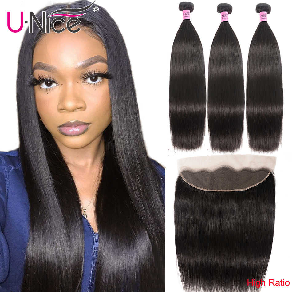 Unice Hair Brazilian Straight Hair Lace Frontal Closure With Bundles 4 PCS Human Hair Extensions Brazilian Hair Weave Bundles