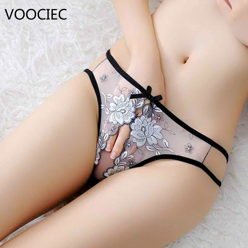 VOOCIEC Sexy Women Panties Crotchless Femme Underwear Lingerie Erotic Lace Bowknot Women Thongs And G-String  Panties Briefs