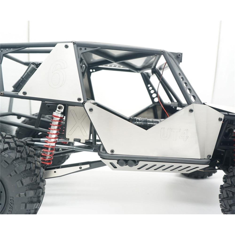 6pcs/set Stainless Steel Car Body Armor Side Panel Hood Cover Modification Kits for CROSSRC UT4 1/7 RC Rock Crawler Car
