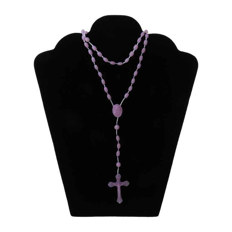Rosario di plastica Luminoso Collana Cattolicesimo di Preghiera Gioielli Religiosi N58F