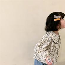 2021 spring girls Floral Shirt New Korean children lapel Retro long sleeve baby top