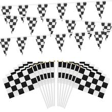 Racing Black White Flag Car Motorcycle Checkered Banners Handhold FlagFor F1 Formula Celebration Craft Deco