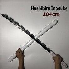 104cm Hashibira Inosuke espada arma demonio asesino Kimetsu no Yaiba Cosplay espada 1:1 Anime Ninja cuchillo de la PU juguete
