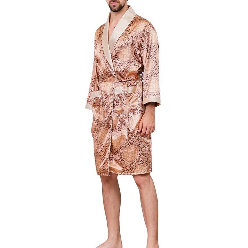 Men Plus Size 5XL Faux Silk Sleeping Robes Male Spring Autumn Long-Sleeve Fashion Printed Bathrobe Silky Men Luxury Sleepwear