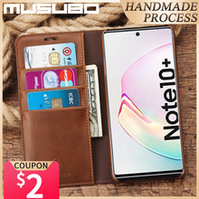 Musubo Case For Samsung Galaxy Note 10 + Luxury Genuine Leather Flip Cover For Note 10 Plus 5G S10E S10 S9 S8+ Funda Coque Capa