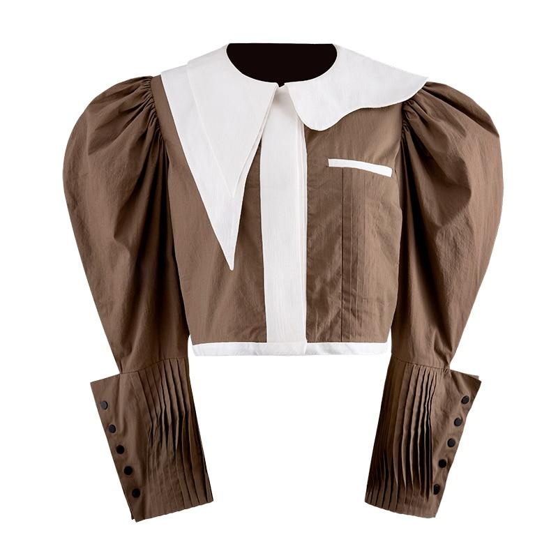 HIGH QUALITY New Fashion 2019 Designer Blouse Women's Long Sleeve Color Block Stylish Blouse Shirt