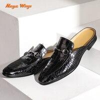 Heye Wings men trend leather mules half slippers luxury outer wear men's leather shoes Crocodile pattern