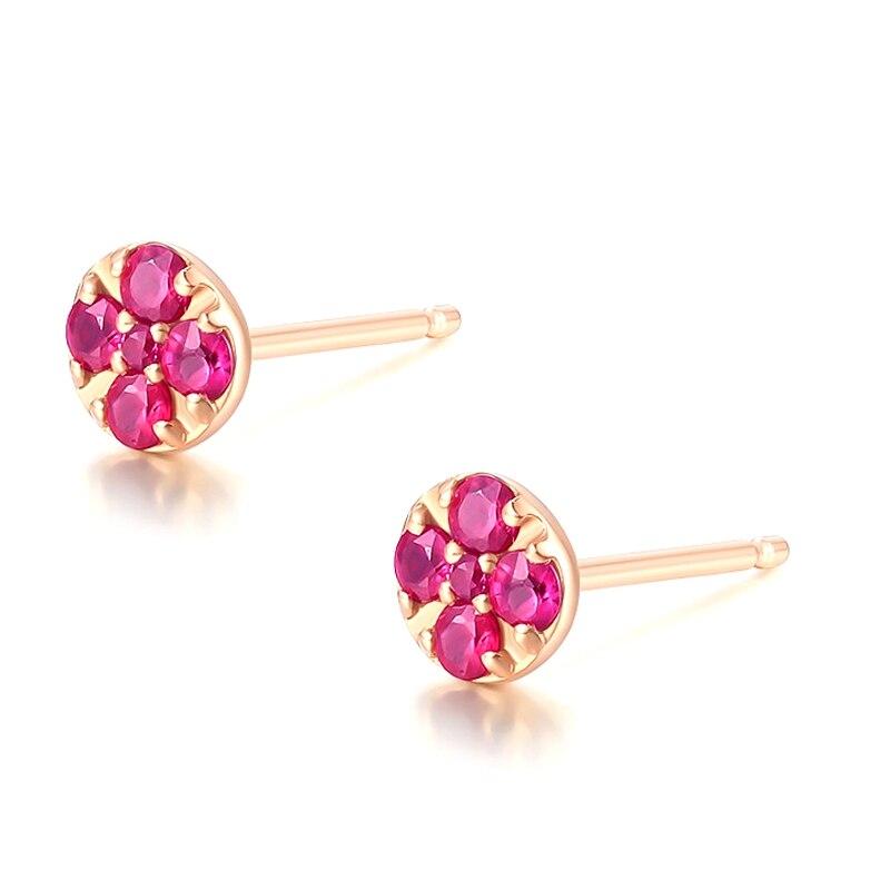 Solide 14k or Rose naturel rubis femmes boucles d'oreilles de fiançailles de mariage bijoux fins - 2