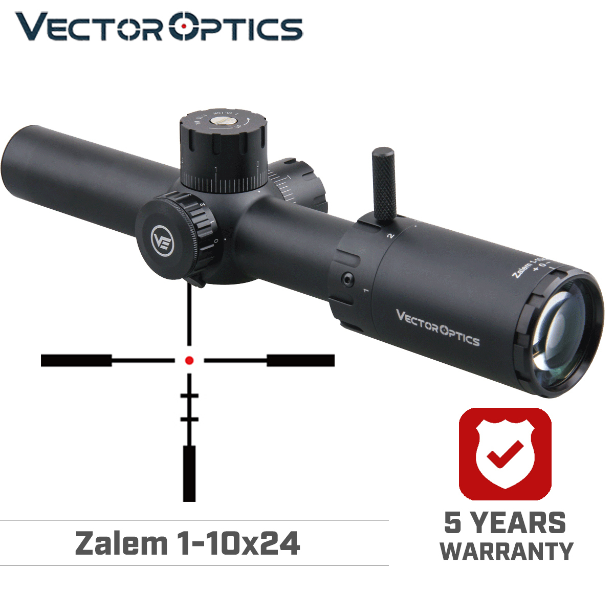 Vector Optics Zalem 1-10x24 Hunting Riflescope Long Eye Relief 11 Levels Red 1/10 MIL BDC Optical Scope For