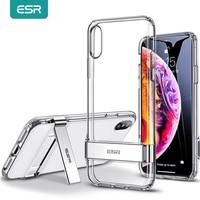 ESR-funda de Metal para iPhone X XR XS Max 11 11Pro Max SE 2020 8 7 Plus, carcasa con soporte de apoyo, funda suave transparente de TPU para iPhone