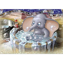 "Diamante pintura needlework diamante completo ""cartoon dumbo elefante banho"" bordado cubo broca decoração strass presentes mosaico(China)"
