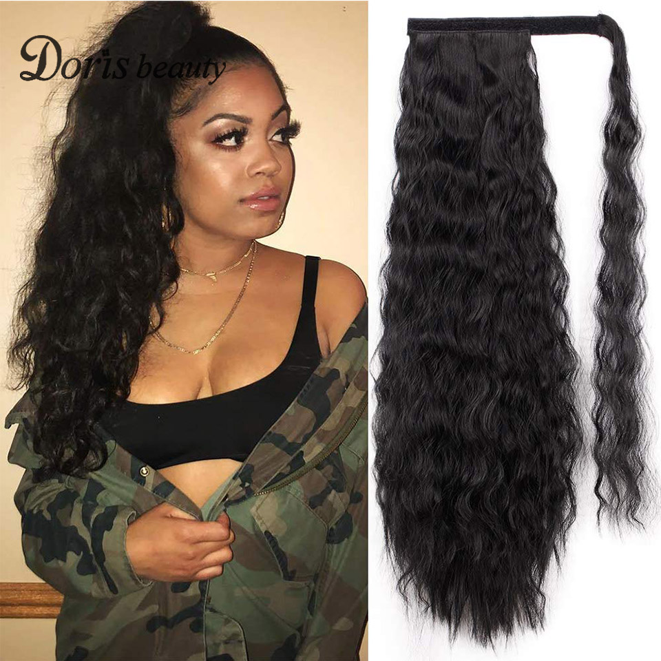 Doris Beauty Kinky Curly Ponytail Hair Extension Clip For Women Synthetic Wrap Around Magic Paste Afro Pony Tail Fake Hair