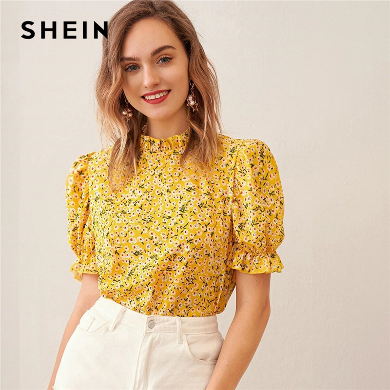 SHEIN Ditsy Floral Frill Neck Puff Sleeve Top Keyhole Back Blouse Women 2020 Summer Elegant Office Lady Tops And Blouses