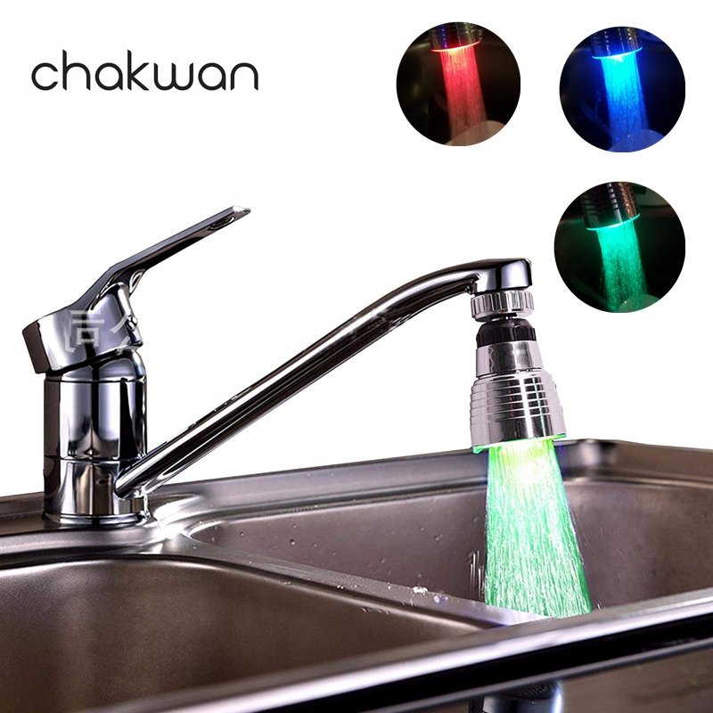 2 Package Swivel 3-Color Temperature Sensitive Gradient LED Water Faucet Light Water Stream Color Changing Faucet Tap Sink Faucet For Kitchen and Bathroom