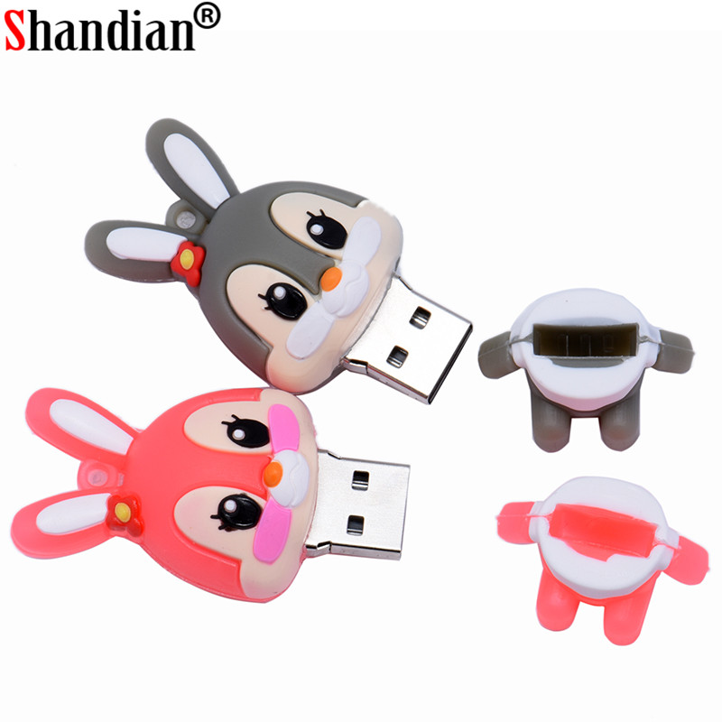 SHANDIAN Promotion Cartoon Rabbit Usb Flash Drive USB 2.0 64GB Memory Stick Pen Drive 4GB 8GB Pendrive 16GB 32GB