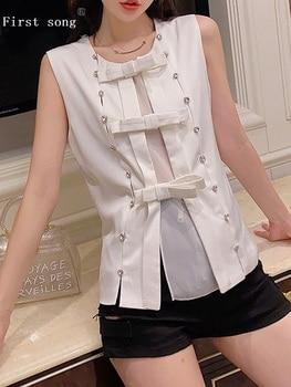 Free shipping double row diamond buckle bow decoration sleeveless shirt ladies summer new fashion wild personality tops XL