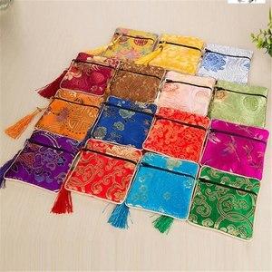 1 pçs jóias de seda moeda chinesa borla zíper bolsa sacos festa de casamento presente sundries armazenamento em casa organizador saco