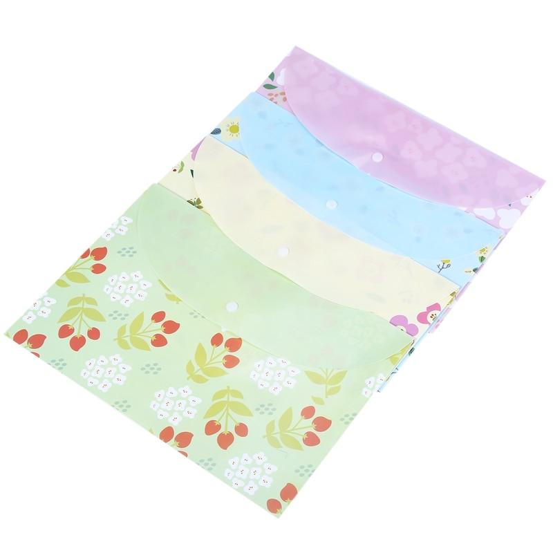 4pcs A4 Papers Paper Bag Small Floral Folder
