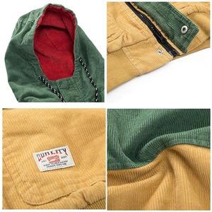 Image 5 - ヒップホップパーカージャケット男性冬のコーデュロイジャケット原宿赤パッチワーク秋のフード付きボンバージャケットコートレゲエジャマイカ
