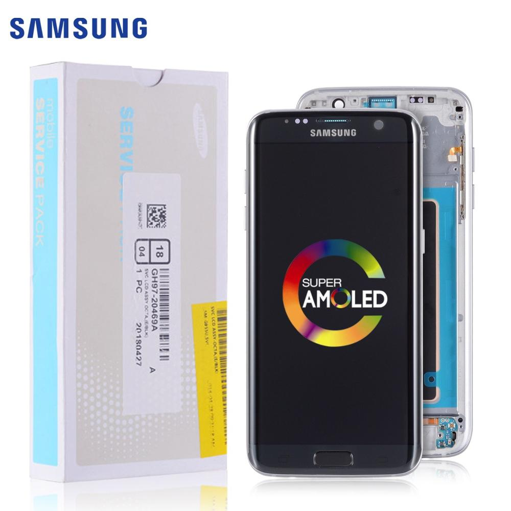 ORIGINAL Super AMOLED <font><b>Display</b></font> For <font><b>SAMSUNG</b></font> <font><b>Galaxy</b></font> <font><b>S7</b></font> Edge LCD Touch Screen Digitizer <font><b>Assembly</b></font> with Frame Replacement G935F G935 image