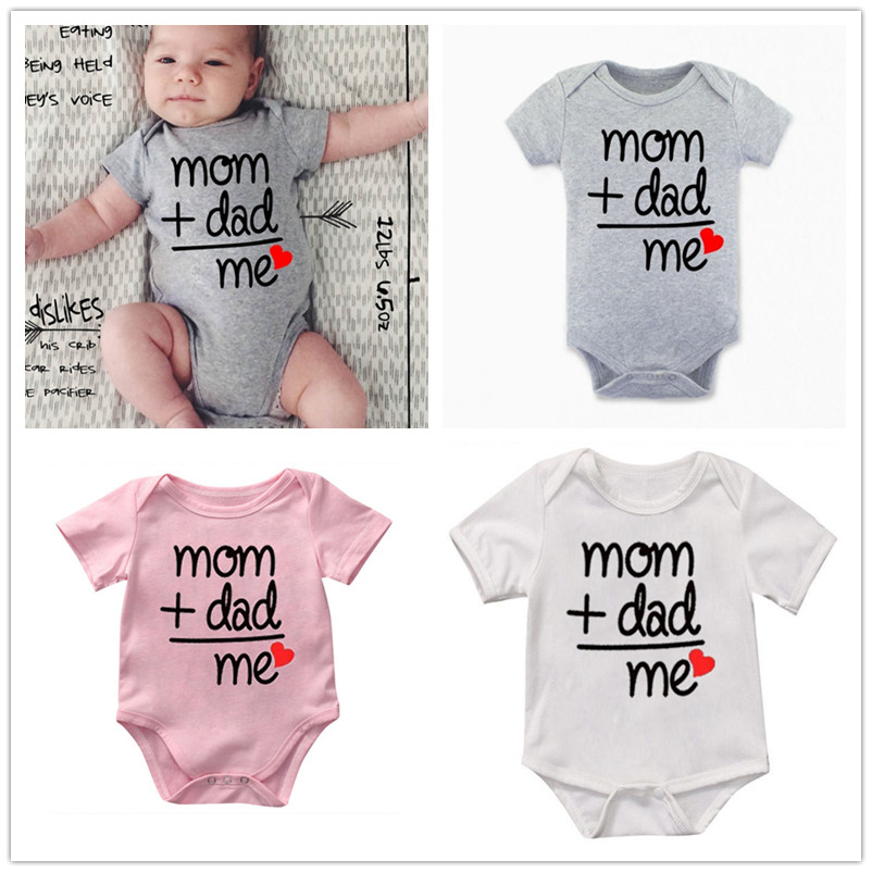 Outfits Jumpsuits Onesies Funny Toddler Baby-Boys-Girls Newborn Cute Dad Me Equal Mom-Plus