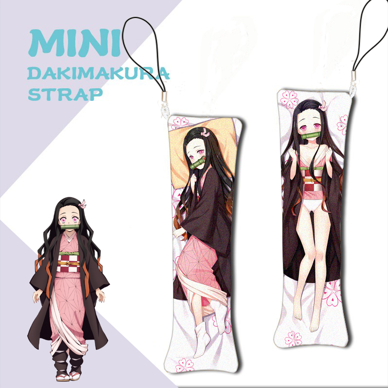 Anime Mini Dakimakura Demon Slayer Kimetsu No Yaiba Keychain Kamado Nezuko Mini Pillow Hanging Decoration Phone Strap 1pcs