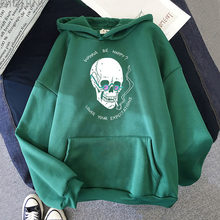 Hoodies Women Aesthetic Graphic Skull Loose Vintage Letter Printing Sweatshirts Gothic Hip Hop Unisex Long Sleeve Korean Tops 12