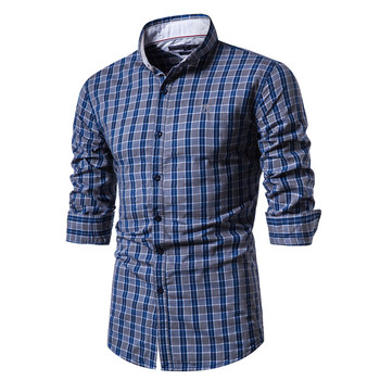 Spring 100% Cotton Plaid Shirt Men Casual Business Social Men Shirt Long Sleeve Top Quality Brand Mens Dress Shirts