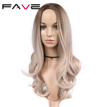 FAVE Ombre Light Brown Ash Blonde Wig Long Wavy Heat Resistant Fiber Synthetic Hair 20 Inch Wig for Black Women Cosplay Party