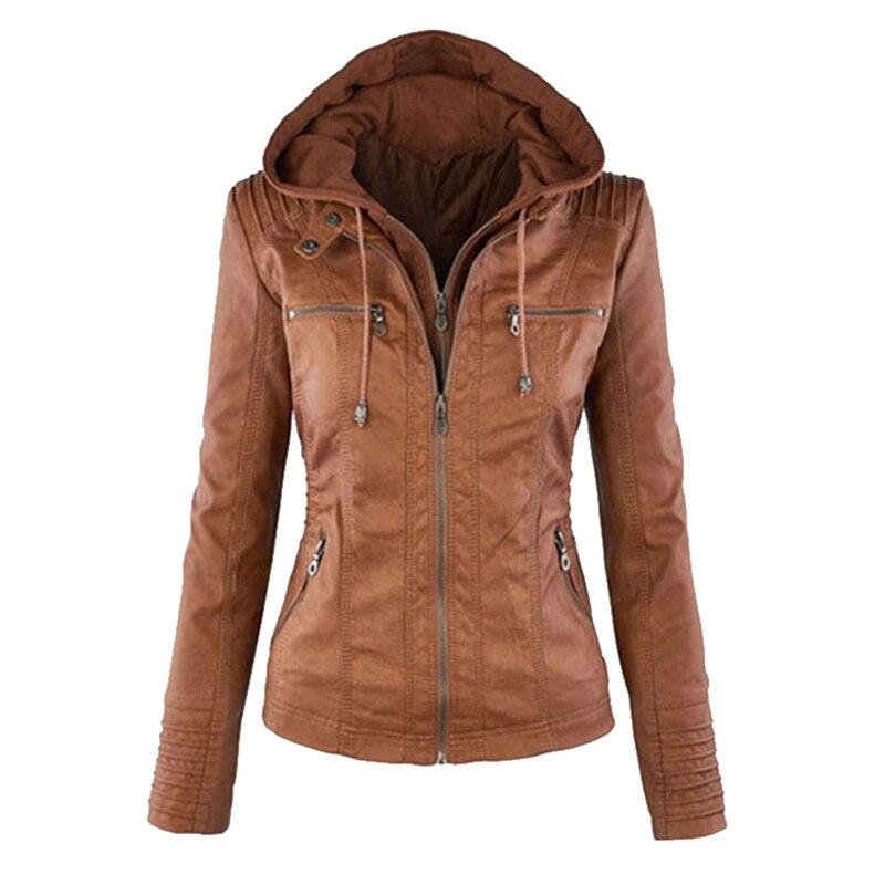 PUIMENTIUA Faux Leather Jacket Women Hoodies Gothic Motorbike Basic PU Jacket Coats Outerwear Hooded Zipper Waterproof Lady Coat