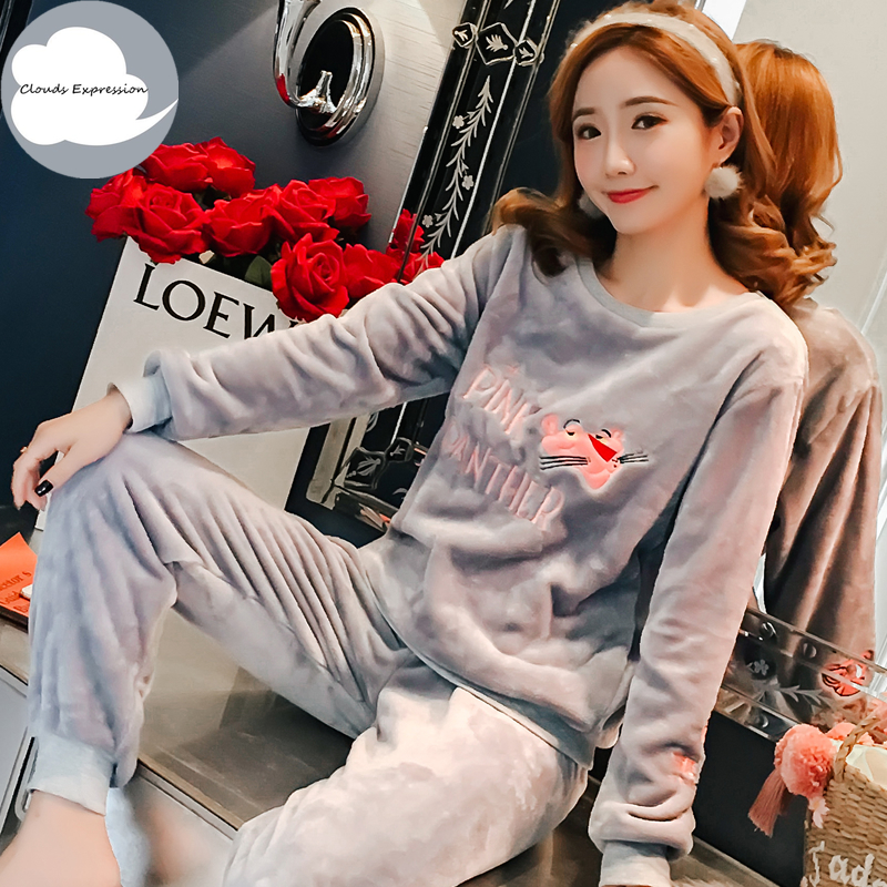 Autumn Winter Thin Flannel Women Sleepwear Pajamas Girls Cartoon Print Pajama Set Pullover Coral Fleece Pijamas Mujer Home Suits
